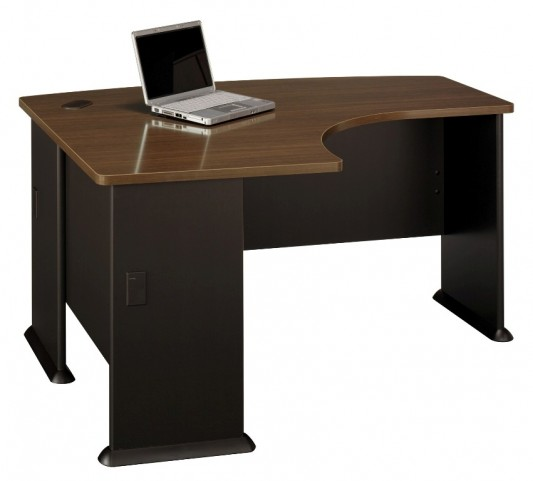 Series A Sienna Walnut 60 Inch LH L-Bow Desk