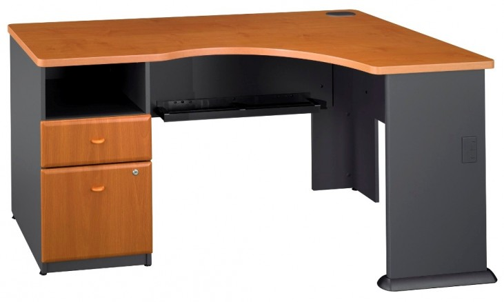 Series A Natural Cherry Expandable Single Pedestal Corner Desk