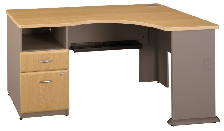 Series A Light Oak Expandable Single Pedestal Corner Desk