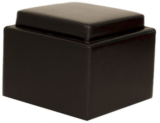 Butler Black Leather Storage Ottoman