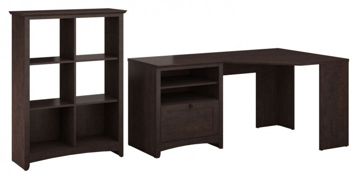 Buena Vista Madison Cherry Corner Desk With 6 Cube Storage