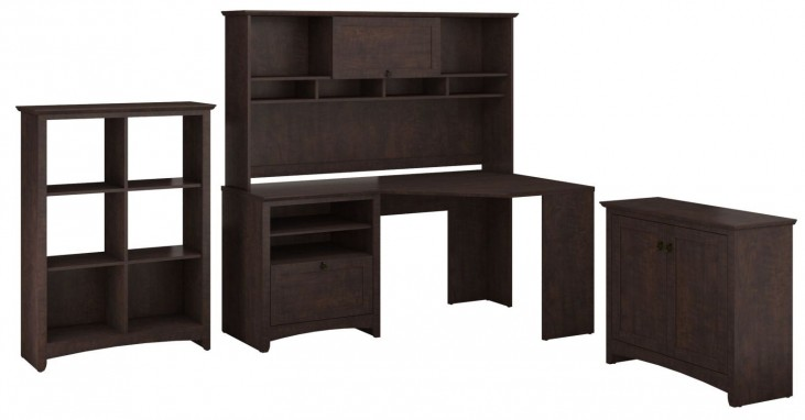 Buena Vista Madison Cherry Corner Desk & Hutch With Low Hutch And 6 Cubes