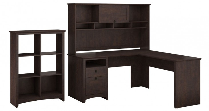 Buena Vista Madison Cherry L-Desk With Hutch & 6 Cube Storage