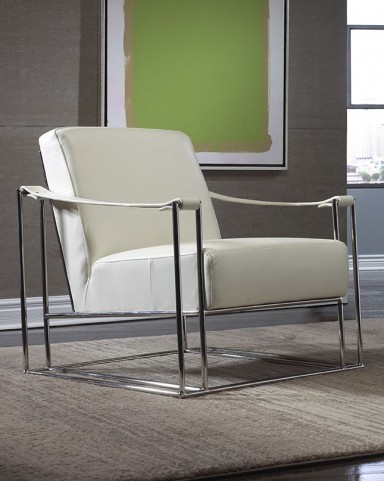 Miranda White Leather Silver Sling Chair