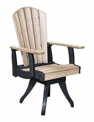 Generations Beige/Black Swivel Dining Arm Chair