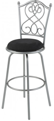 "Atlanta Brushed Silver and Black 30"" Barstool"