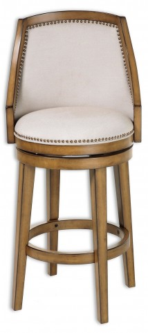 "Charleston Acorn and Antique Brass and Putty 30"" Barstool"