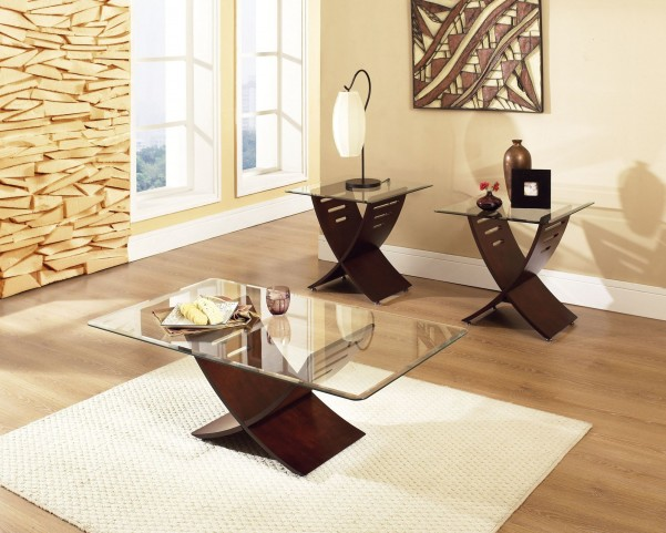 Cafe 3 Piece Glass Occasional Table Set