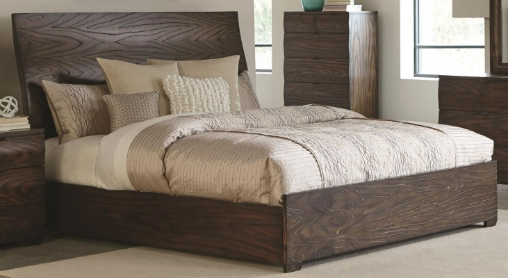 Calabasas Dark Brown Queen Panel Bed