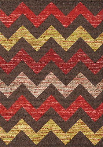 Camino Brown/Red/Green Chevron Small Rug