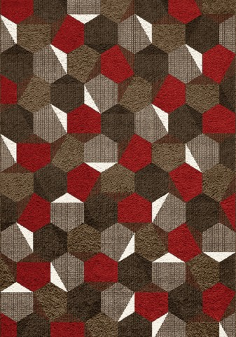 Camino Brown/Red Honeycomb Large Rug