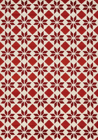 Camino Red/Cream Geometric Flower Large Rug