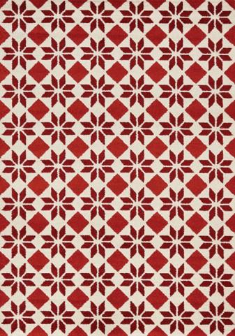 Camino Red/Cream Geometric Flower Medium Rug