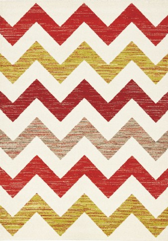 Camino Red Green Chevron Rug
