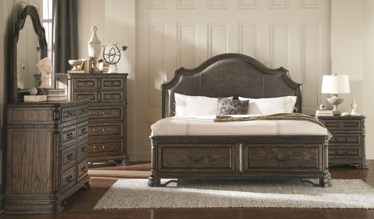 Carlsbad Dark Brown Upholstered Panel Storage Bedroom Set