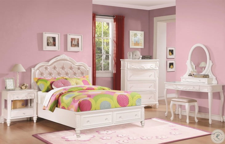 Caroline Diamond Tufted Youth Storage Platform Bedroom Set