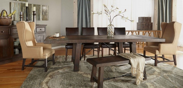 Carter Rustic Java Rectangular Extendable Trestle Dining Room Set with London Dining Chairs