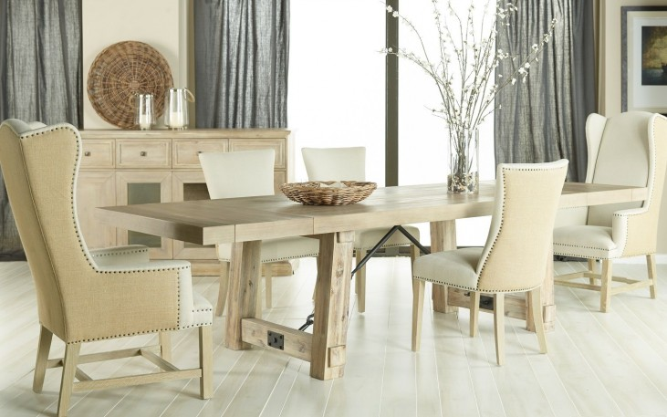 Carter Stone Wash Rectangular Extendable Dining Room Set with Avery Oatmeal Linen Dining Chairs
