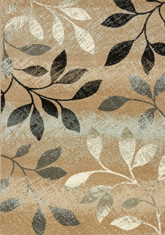 Casa Distressed Brown/White Leaves  Large Rug