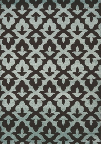 Casa Brown/Blue Geometric Lilypad Large Rug