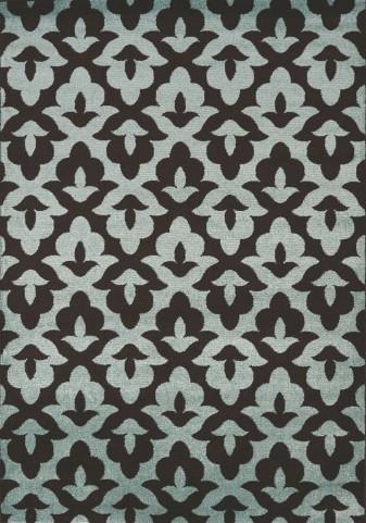 Casa Brown/Blue Geometric Lilypad Medium Rug
