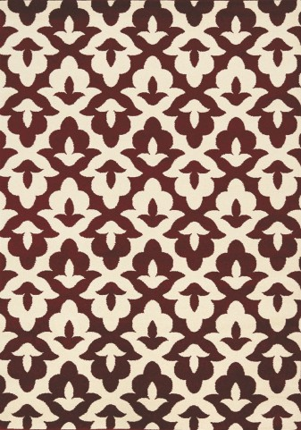 Casa Maroon/Cream Geometric Lilypad Large Rug