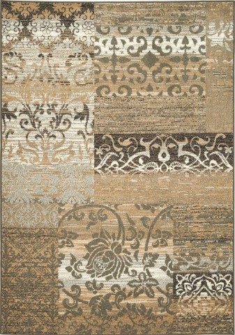 "Casa Beige Distress Patchwork 94"" Rug"