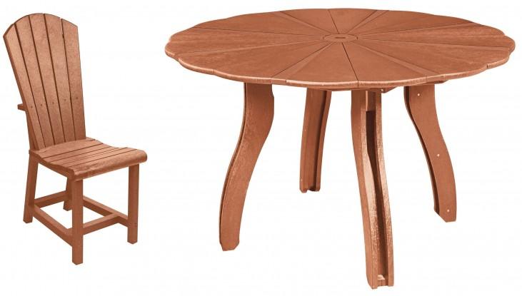 "Generations Cedar 52"" Scalloped Round Dining Room Set"