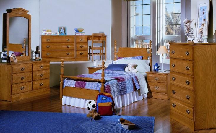 Carolina Golden Oak Youth Poster Bedroom Set