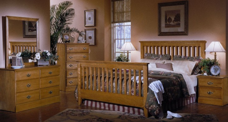 Carolina Golden Oak Youth Slat Bedroom Set