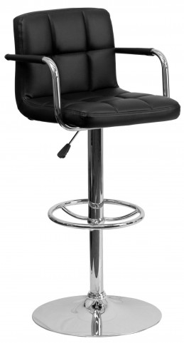 Black Quilted Adjustable Height Arm Bar Stool