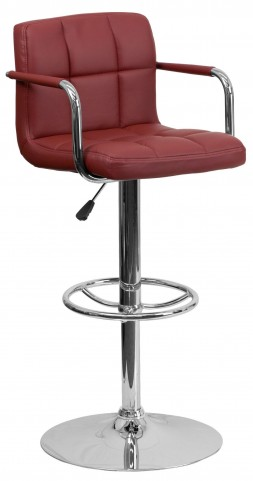 Burgundy Quilted Adjustable Height Bar Arm Stool