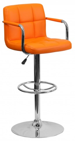 Orange Quilted Adjustable Height Arm Bar Stool