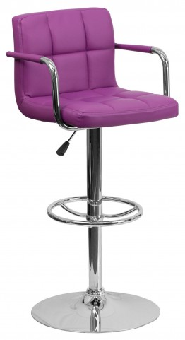 Purple Quilted Adjustable Height Arm Bar Stool