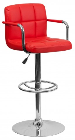 Red Quilted Adjustable Height Arm Bar Stool