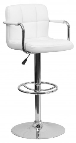 White Quilted Adjustable Height Arm Bar Stool