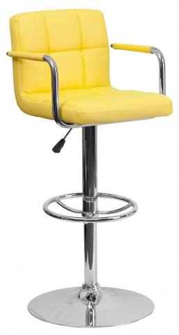 Yellow Vinyl Adjustable Height Arm Bar Stool