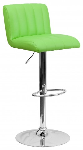 1000555 Green Vinyl Adjustable Height Bar Stool