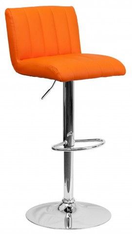 1000556 Orange Vinyl Adjustable Height Bar Stool