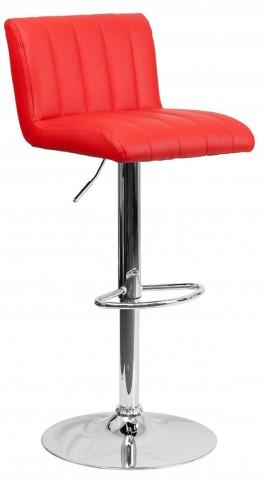 1000558 Red Vinyl Adjustable Height Bar Stool