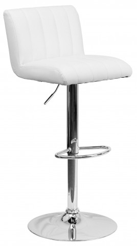 1000559 White Vinyl Adjustable Height Bar Stool