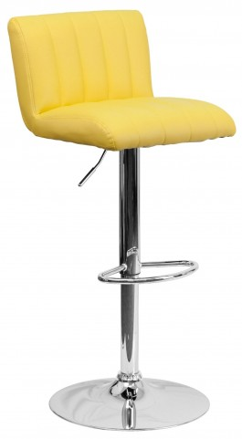 1000560 Yellow Vinyl Adjustable Height Bar Stool