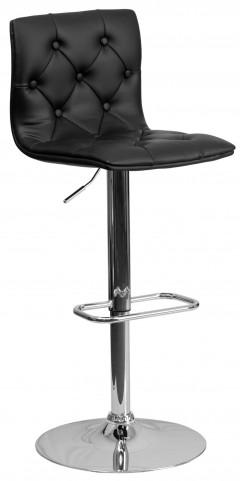 Tufted Black Adjustable Height Bar Stool