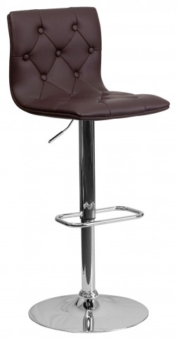 Tufted Brown Adjustable Height Bar Stool