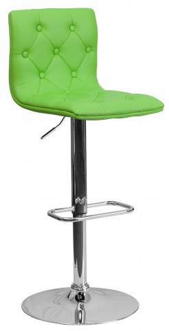 Tufted Green Adjustable Height Bar Stool