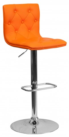 Tufted Orange Adjustable Height Bar Stool