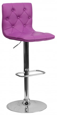 Tufted Purple Adjustable Height Bar Stool