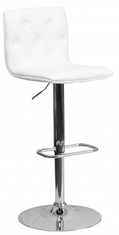 Tufted White Adjustable Height Bar Stool