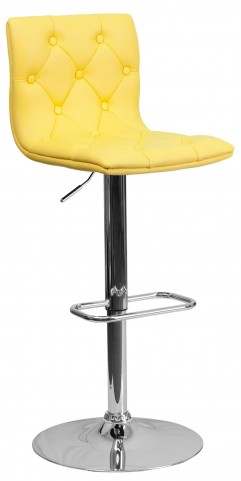 Tufted Yellow Adjustable Height Bar Stool