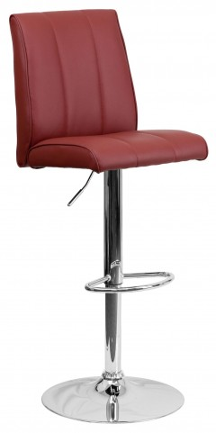 1000572 Burgundy Vinyl Adjustable Height Bar Stool